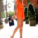 Lulu's Orange Lace Romper, Kendra Scott Rayne Neon Yellow Necklace