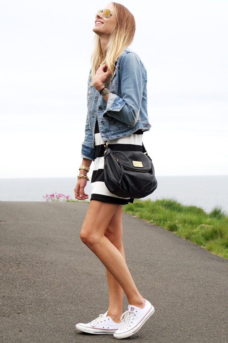Black dress jean jacket - Dress Forever21 Old Jacket Similar Shoes Converse Handbag Marc Jacobs Sunglasses Ray Ban Earrings Milk Honey Boutique Necklace