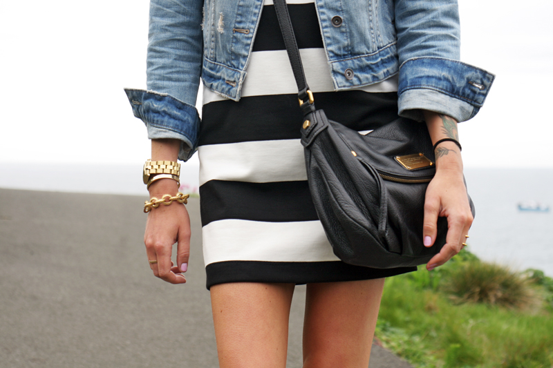 black & white stripe dress, denim jacket, white converse, black marc jacobs crossbody, ray-ban aviators, nautical, summer