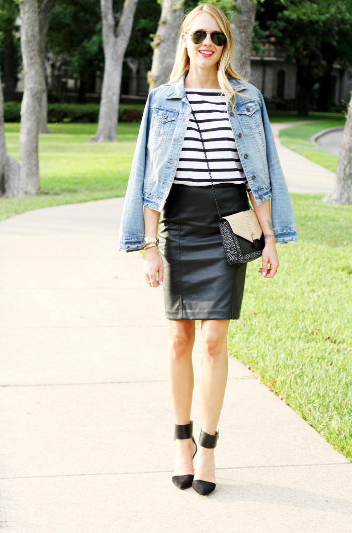 6ce276a865 Black Denim Pencil Skirt