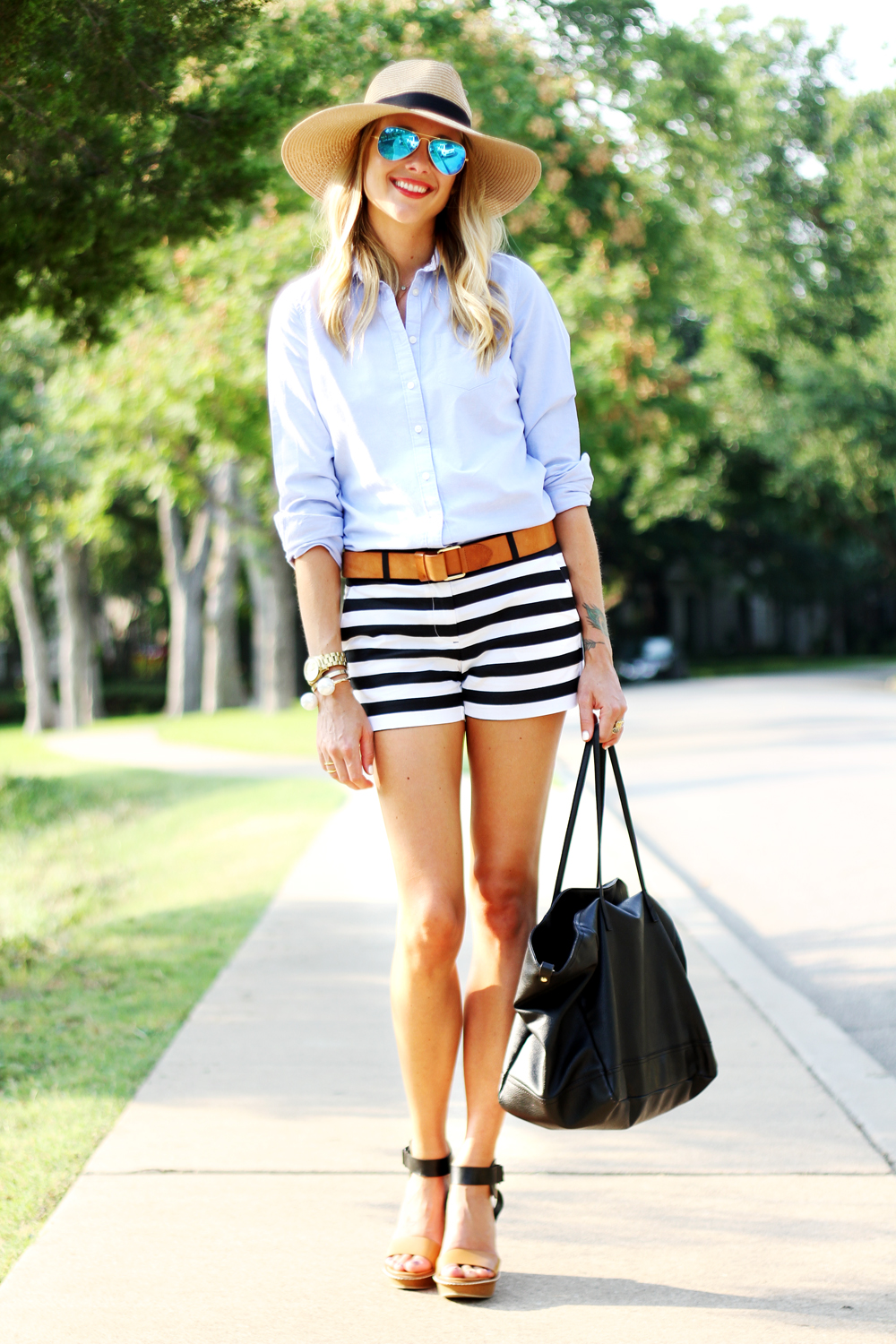 Black White Striped Shorts - The Else