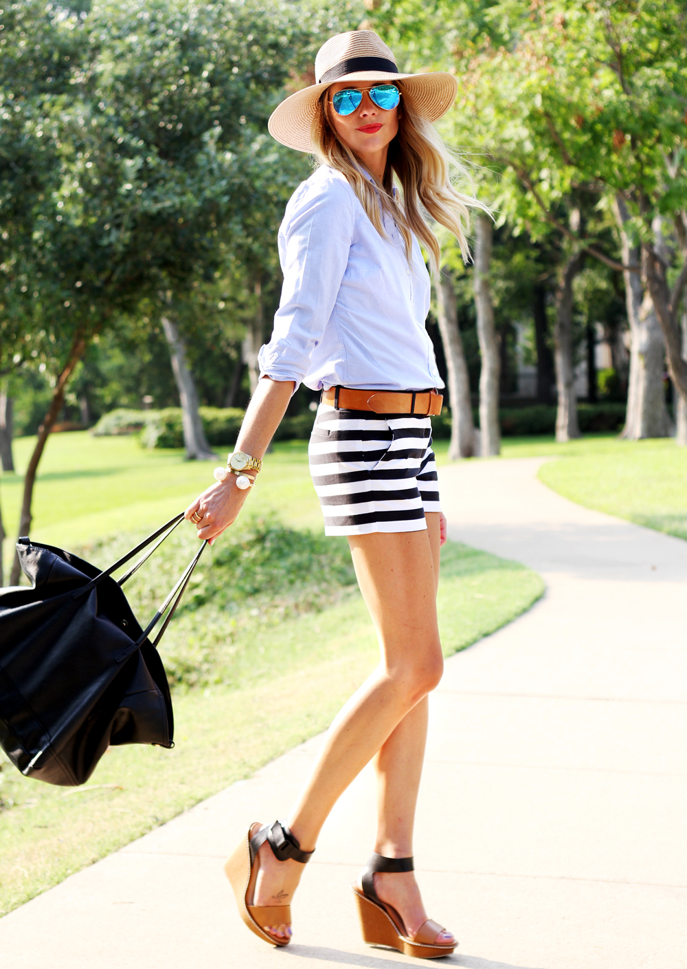 blue oxford shirt, black & white stripe shorts