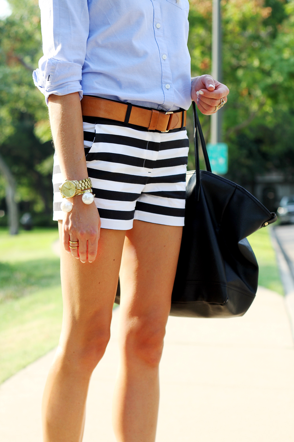 black & white stripe shorts