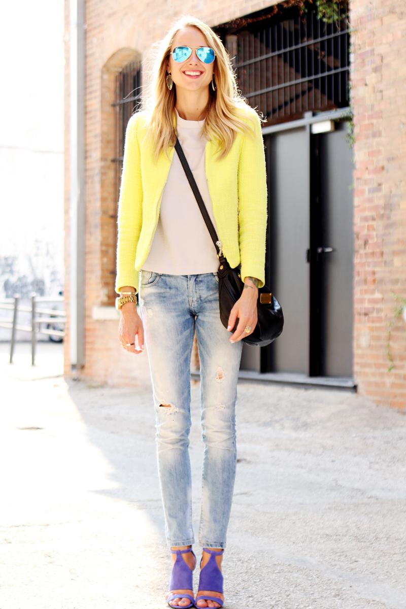 neon yellow zara blazer