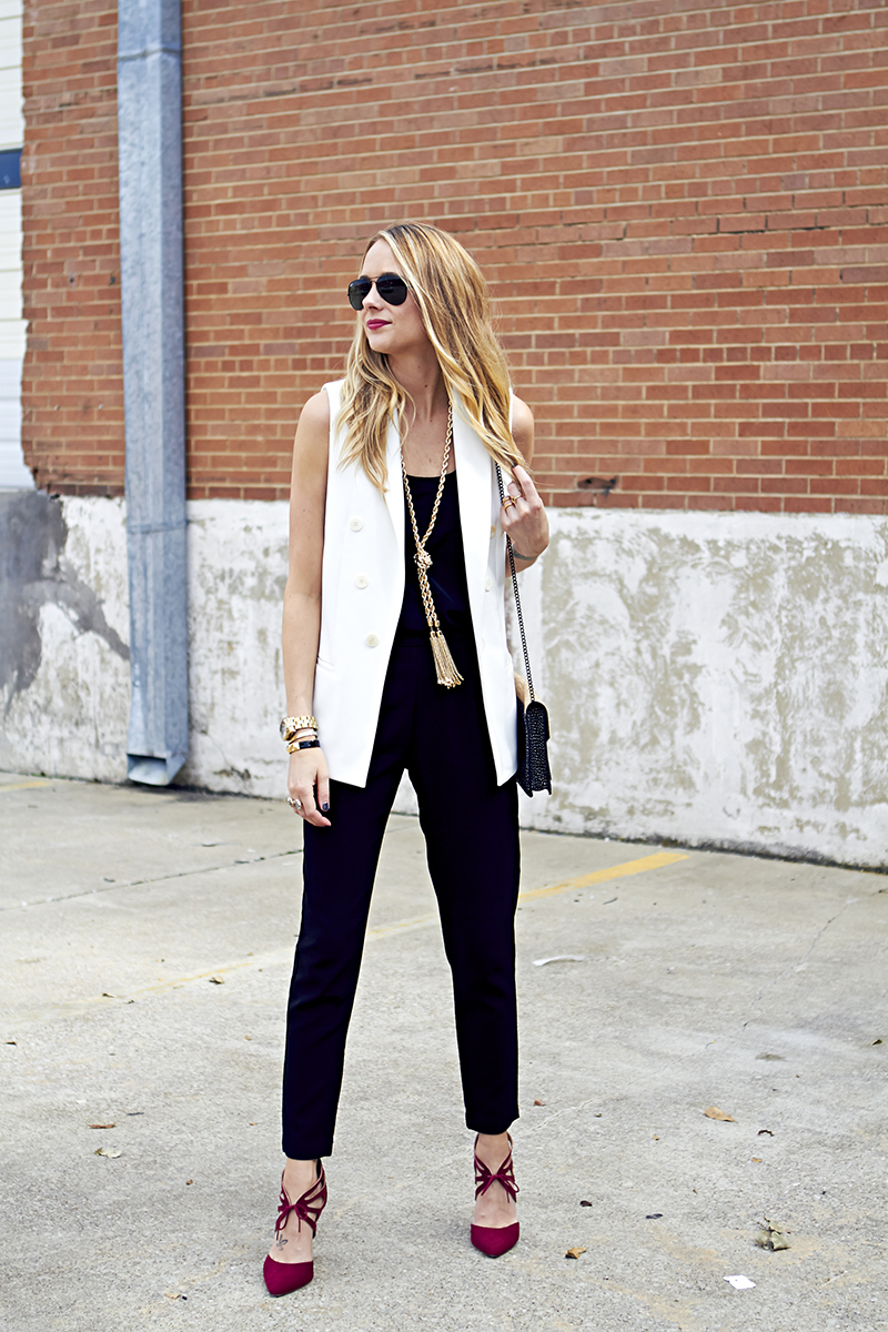 incredible black and white vest outfit women