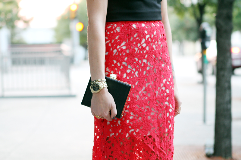 RED LACE MIDI SKIRT | Fashion Jackson