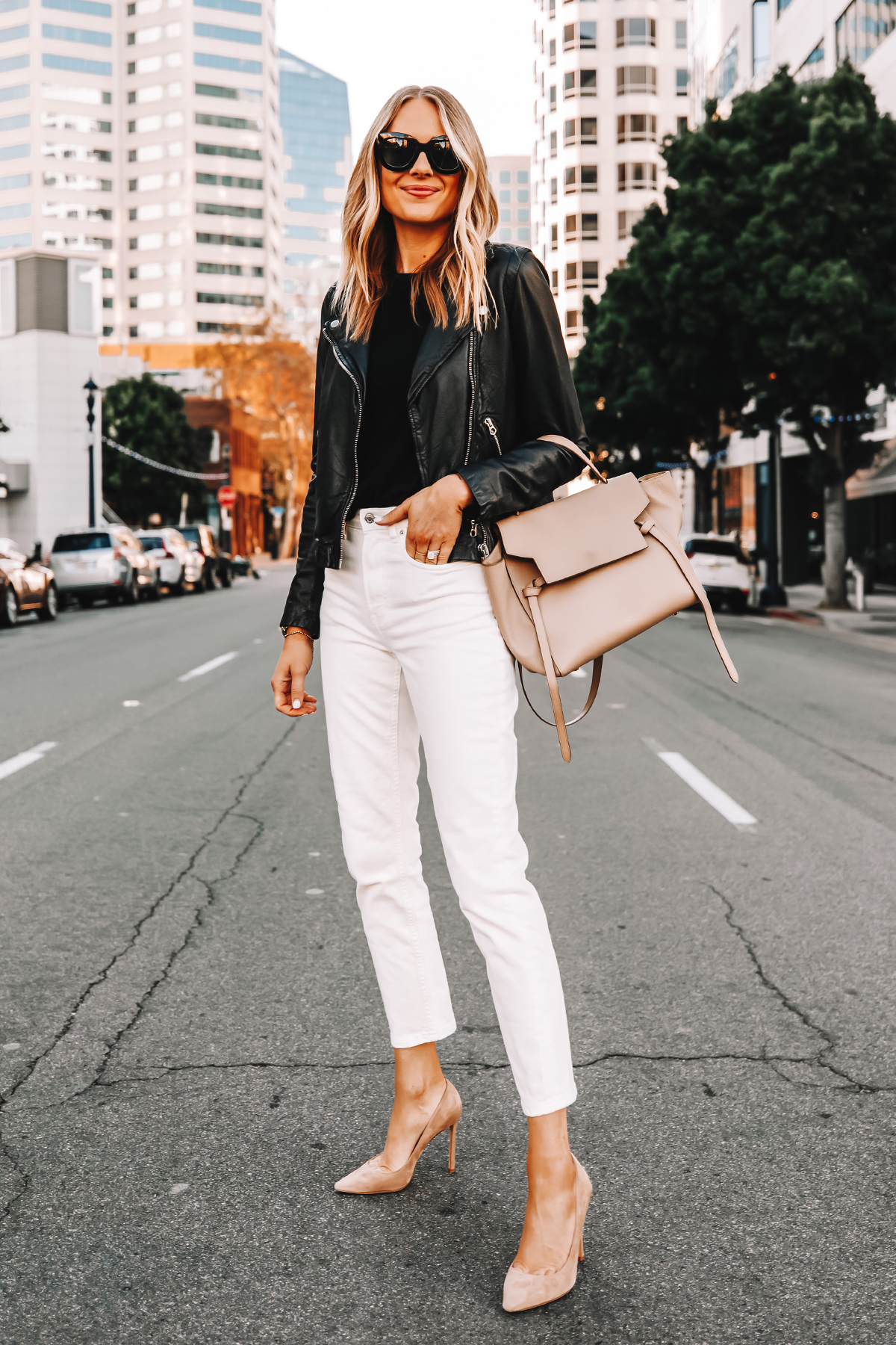 Fashion Jackson Wearing Madewell Black Leather Jacket Everlane White Jeans Nude Pumps Celine Mini Belt Bag