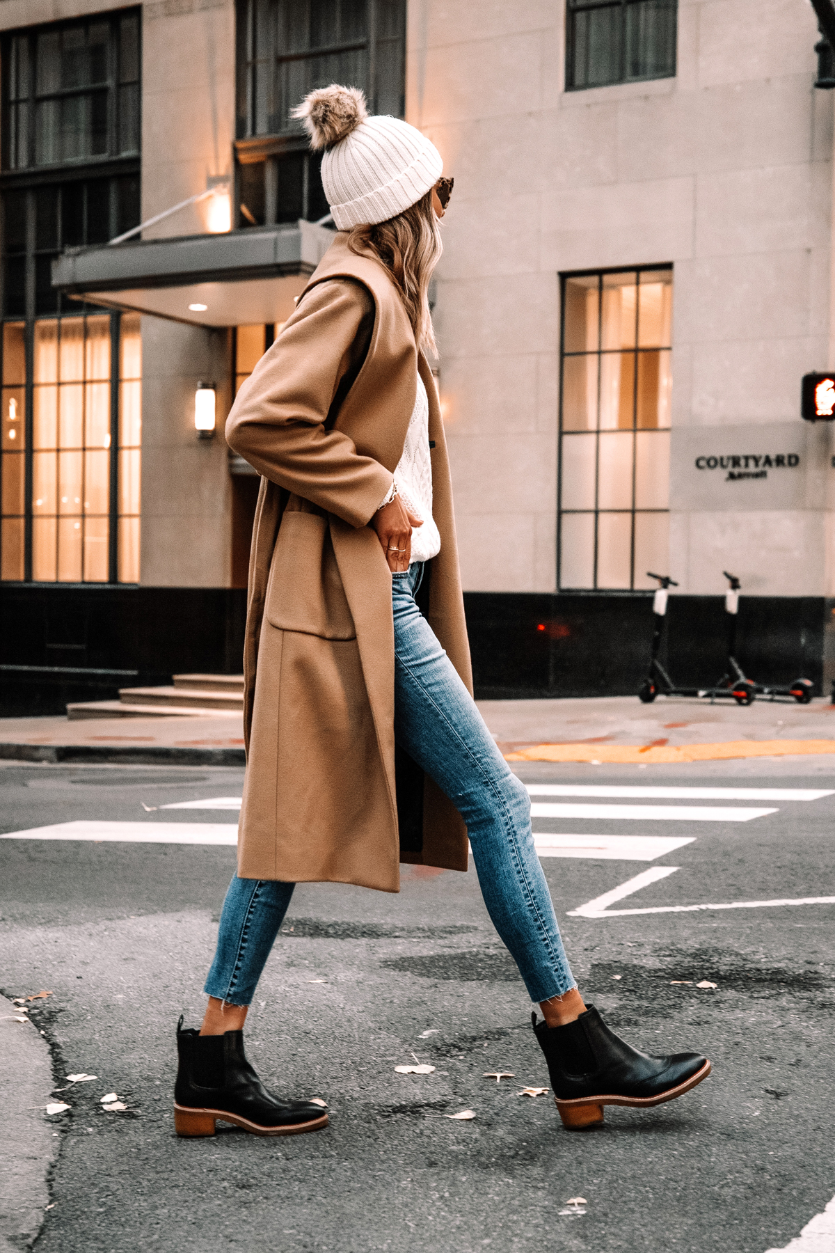Fashion Jackson Wearing Jcrew Camel Wrap Coat White Swetaer Raw Hem Jeans Black Lug Sole Boots White Beanie Winter Outfit Street Style 1