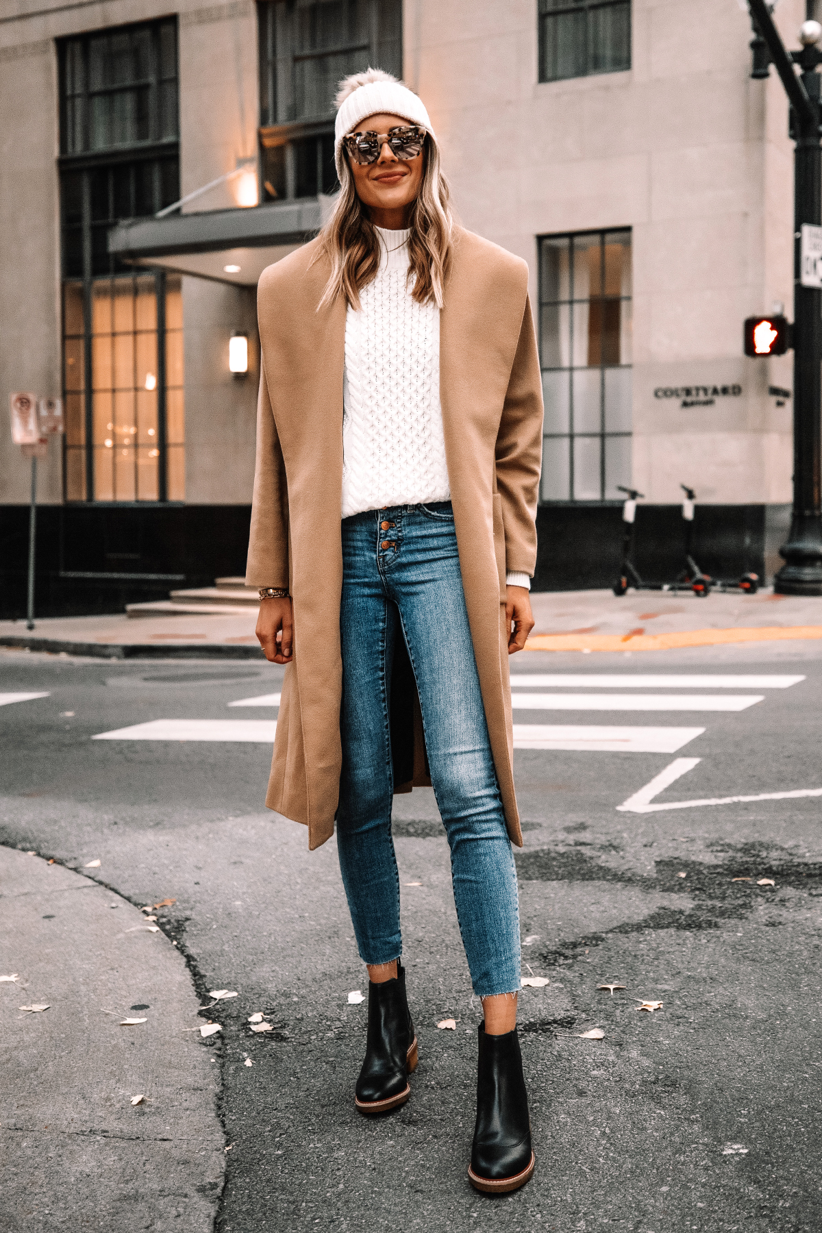 Fashion Jackson Wearing Jcrew Camel Wrap Coat White Swetaer Raw Hem Jeans Black Lug Sole Boots White Beanie Winter Outfit Street Style 2