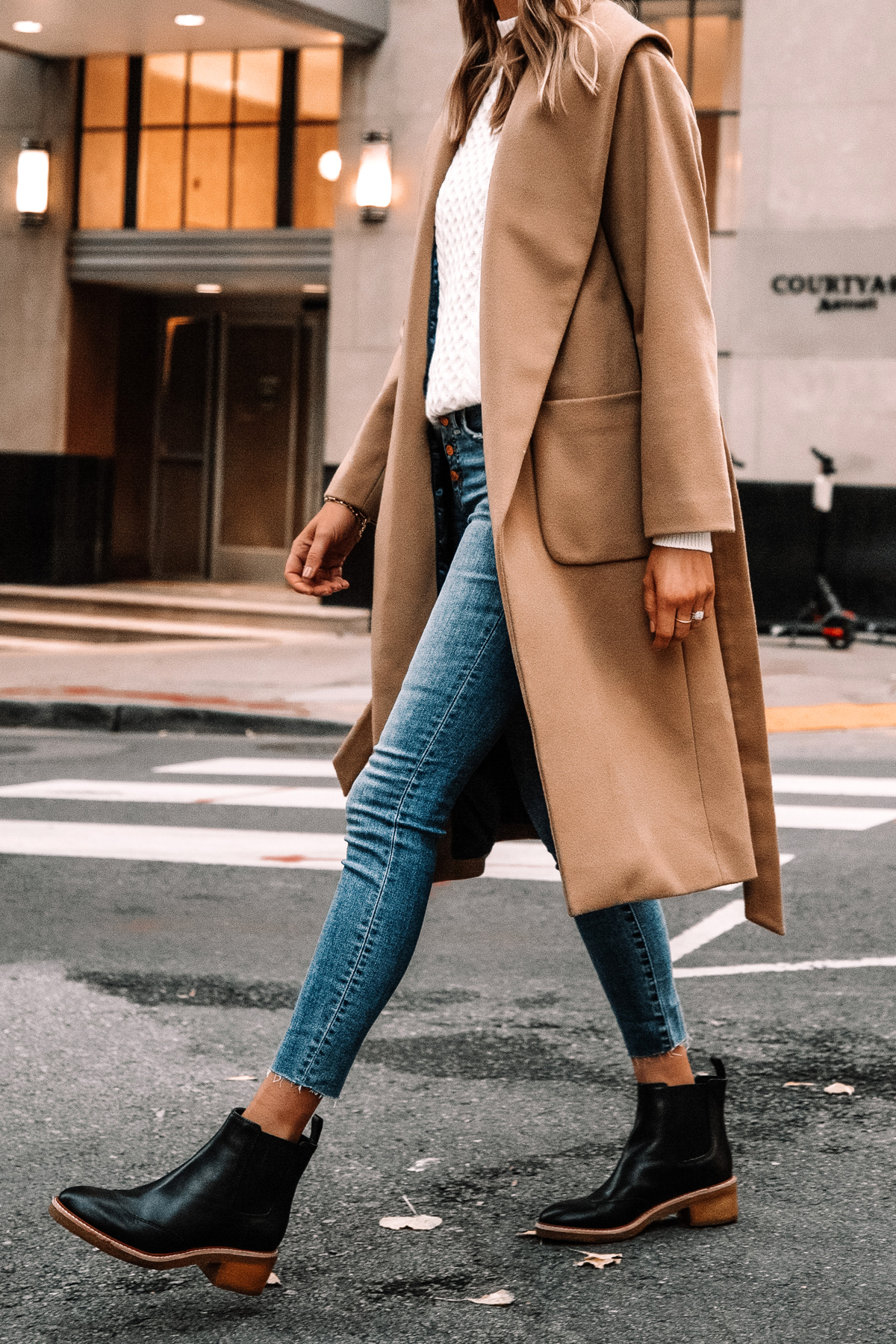 Fashion Jackson Wearing Jcrew Camel Wrap Coat White Swetaer Raw Hem Jeans Black Lug Sole Boots Winter Outfit Street Style