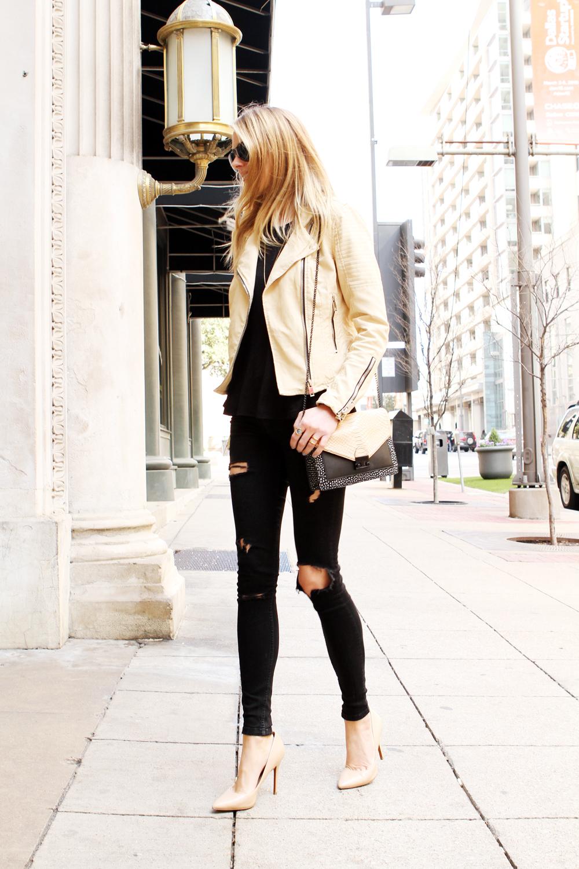 Nude Leather Moto Jacket Fashion Jackson