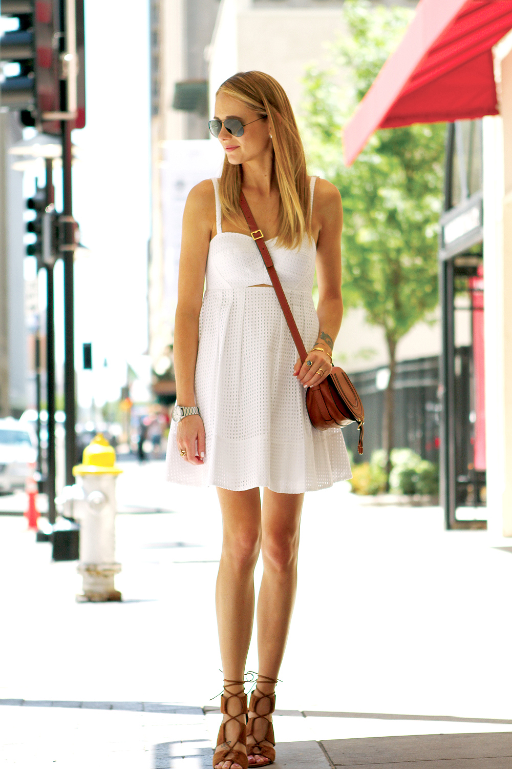 white eyelet dress - tan lace up heels - tan crossbody
