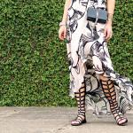 black & ivory floral maxi dress - ysl crossbody handbag - stuart weitzman black gladiator sandals