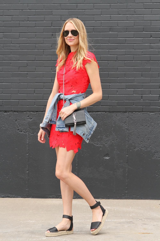 Red Floral Dress Amp Denim Jacket Fashion Jackson