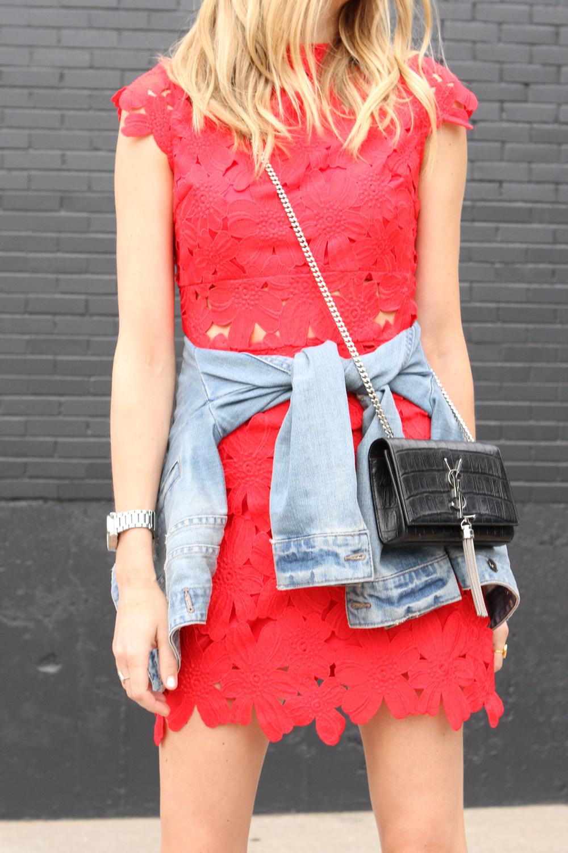 RED FLORAL DRESS & DENIM JACKET | Fashion Jackson