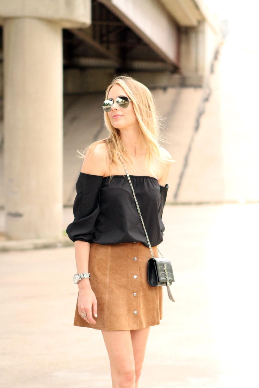 topshop tan suede mini skirt, black off the shoulder top