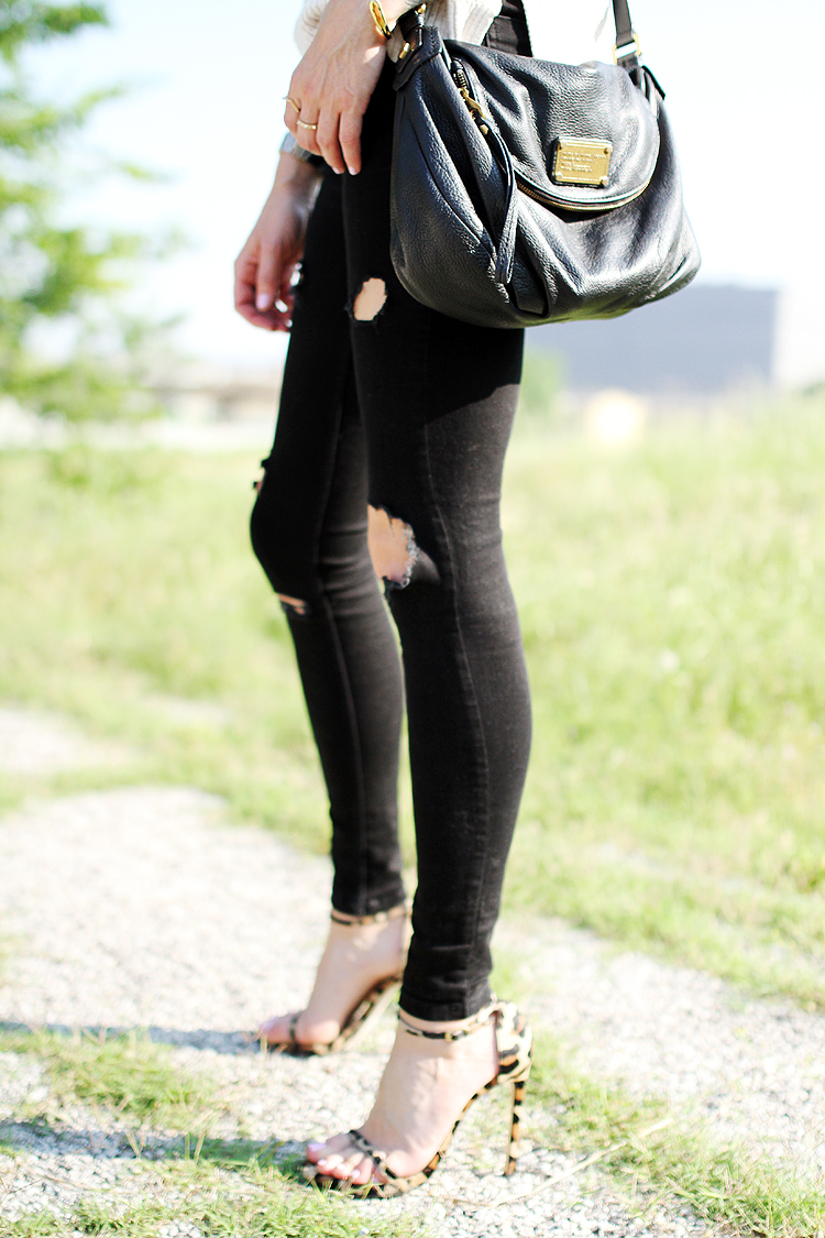 black ripped skinny jeans, leopard stuart weitzman heels
