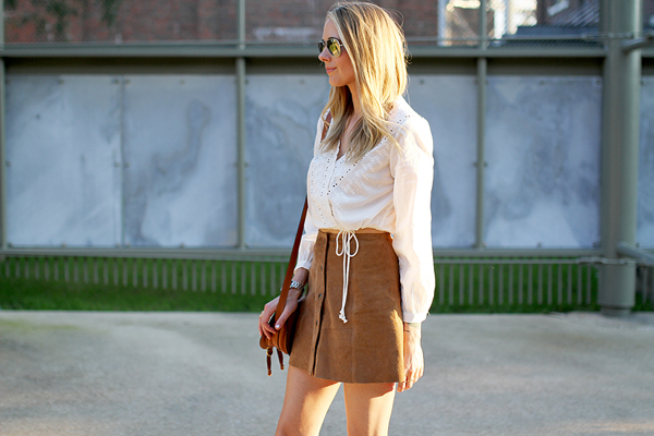 topshop white embroidered crop top, suede tan mini skirt