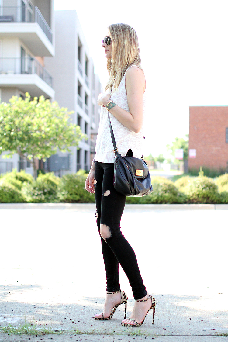 white sweater tank, black ripped skinny jeans, leopard heels, black crossbody