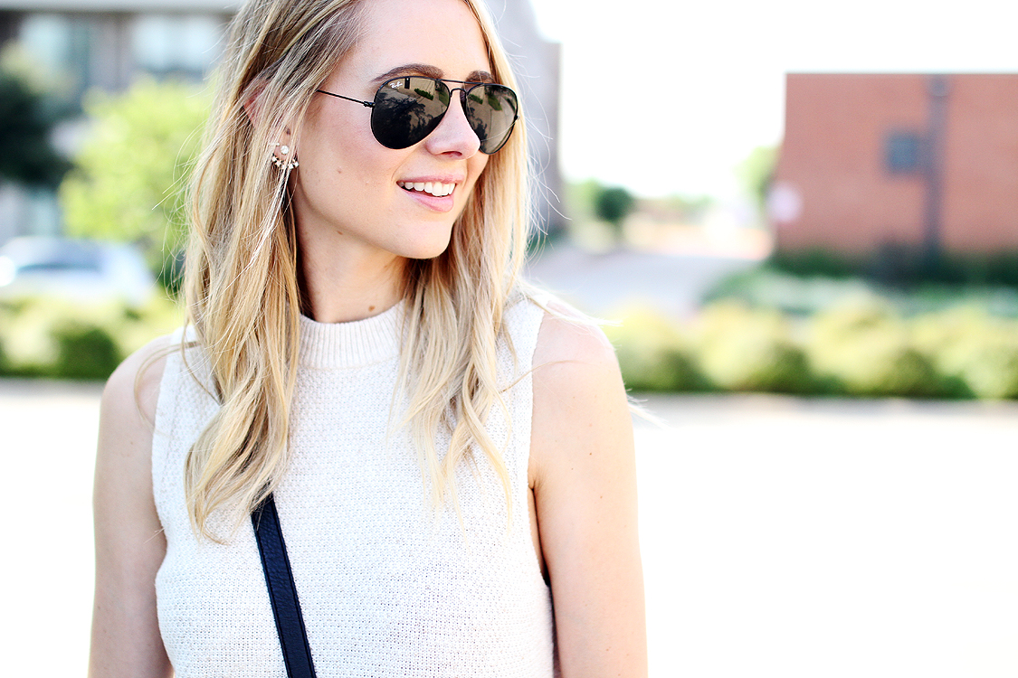white sweater tank, black aviator sunglasses