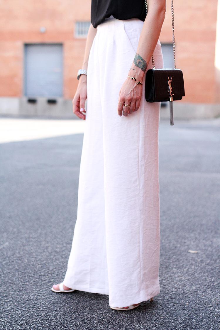 white wide leg pants, black tank,