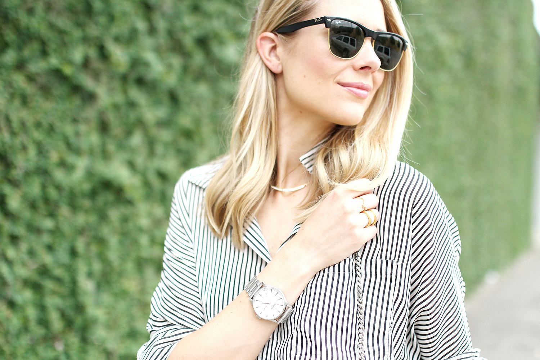 striped button up shirt-ray-ban sunglasses-nixon watch