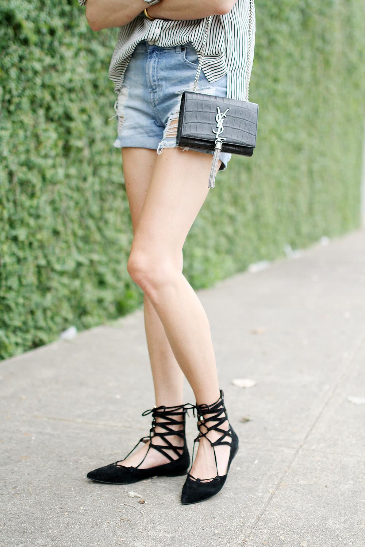 ripped denim shorts-ysl crossbody-black lace up flats
