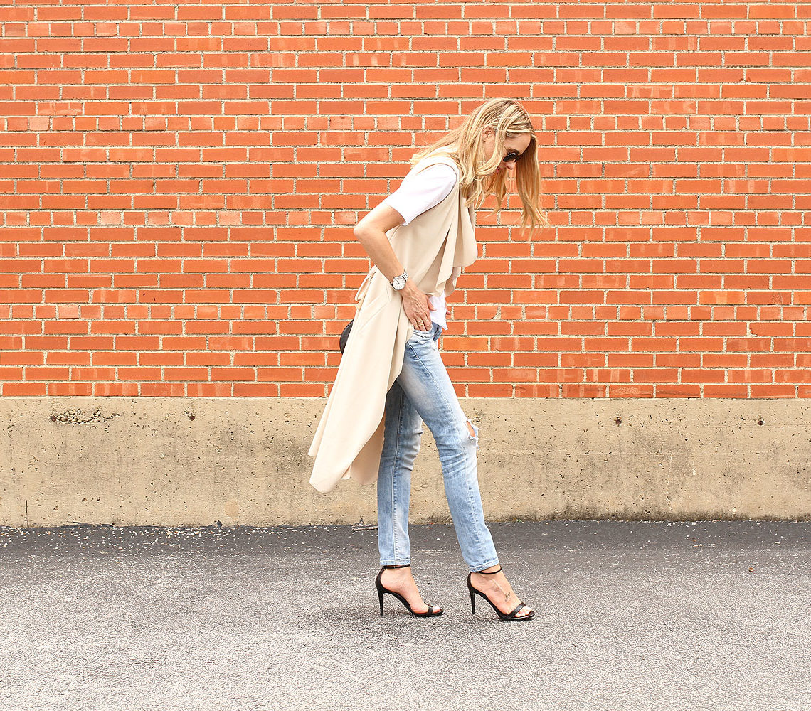 sleeveless trench-white button up shirt-ripped denim jeans-black heeled sandals