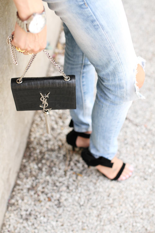 black bow heels-ripped skinny jeans-ysl crossbody