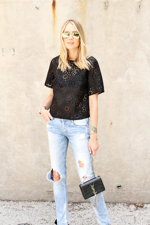 black laser cut top-ripped skinny jeans-ysl crossbody-silver aviator sunglasses