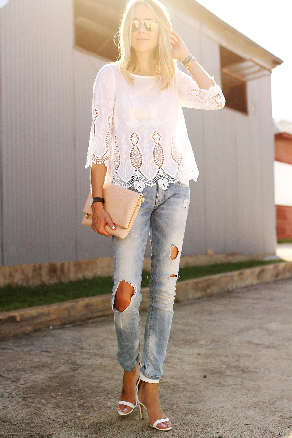 White Lace Top Amp Ripped Jeans Fashion Jackson