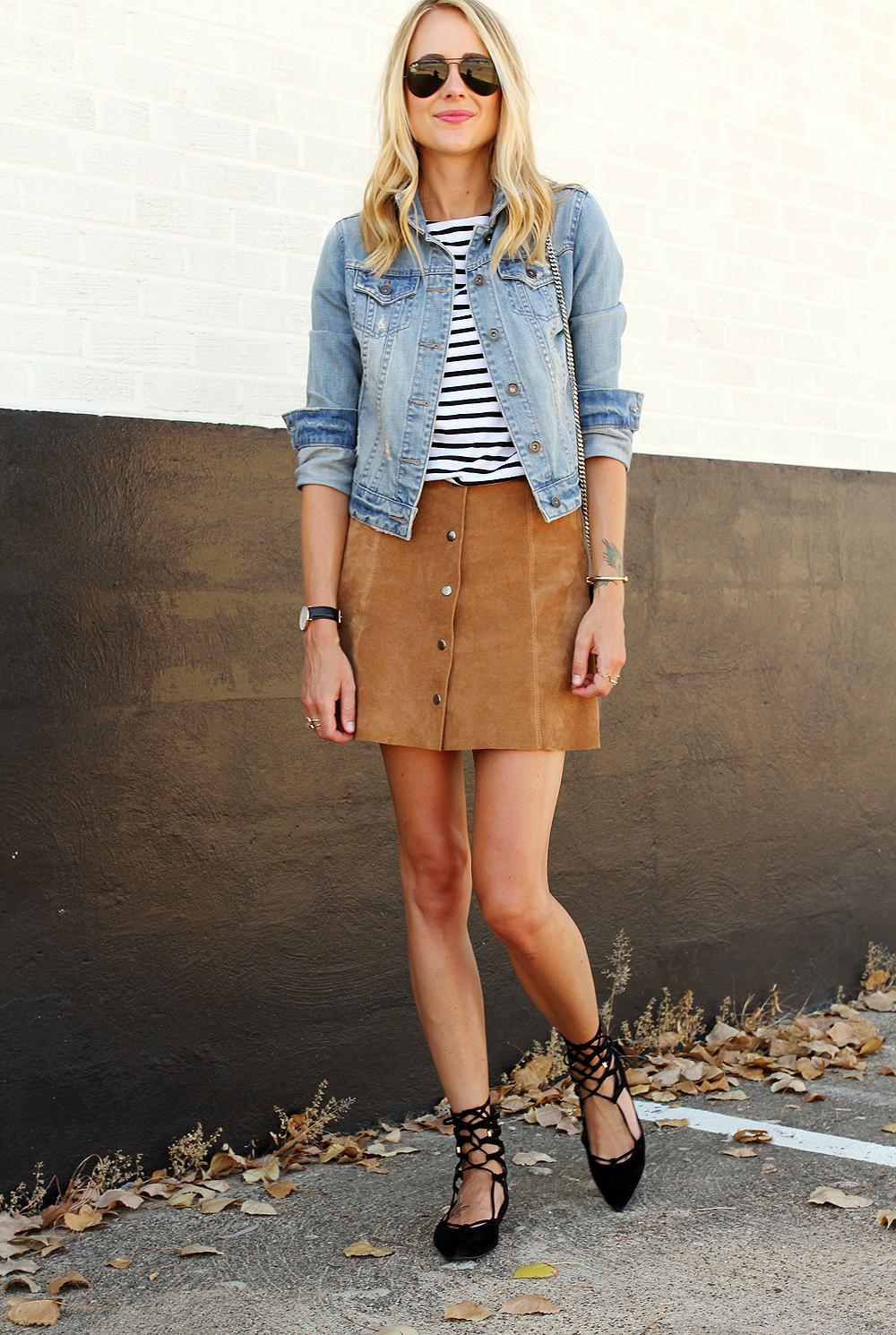Denim Jacket Amp Suede Skirt Fashion Jackson