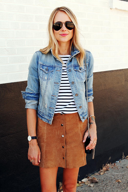 fashion-jackson-denim-jacket-topshop-suede-mini-skirt-stripe-top-black-aviator-sunglasses
