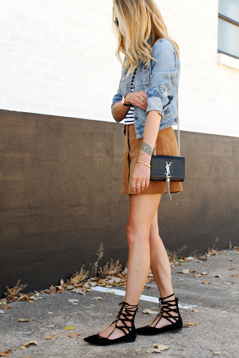 fashion-jackson-denim-jacket-topshop-suede-mini-skirt-stripe-top-black-lace-up-flats-ysl-crossbody