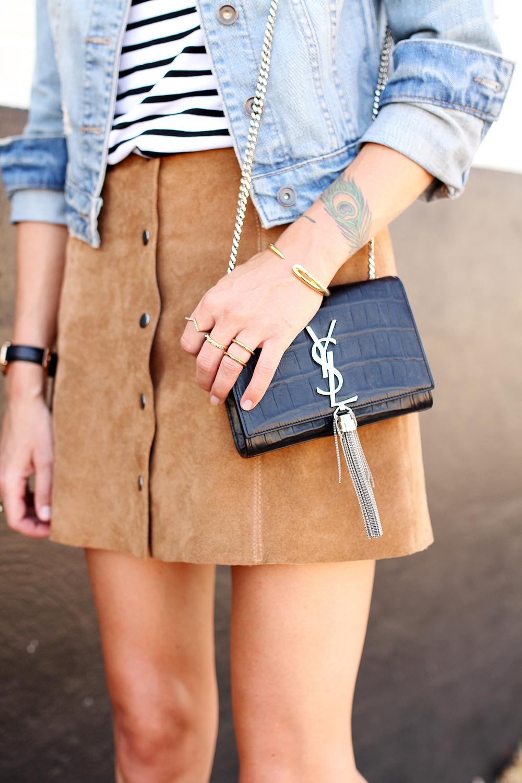fashion-jackson-denim-jacket-topshop-suede-mini-skirt-ysl-crossbody-stripe-top
