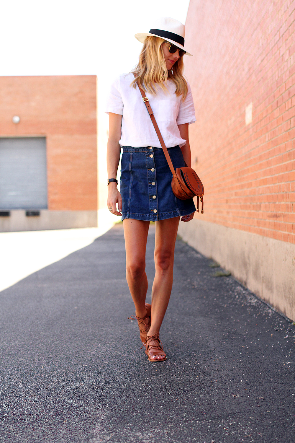 Tan Denim Skirt