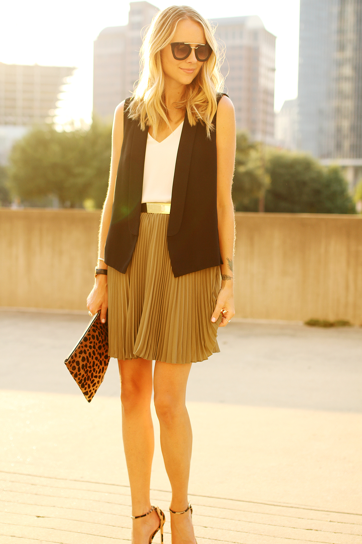 fashion-jackson-banana-republic-olive-soft-pleated-skirt-black-vest-prada-cateye-sunglasses-clare-v-leopard-clutch