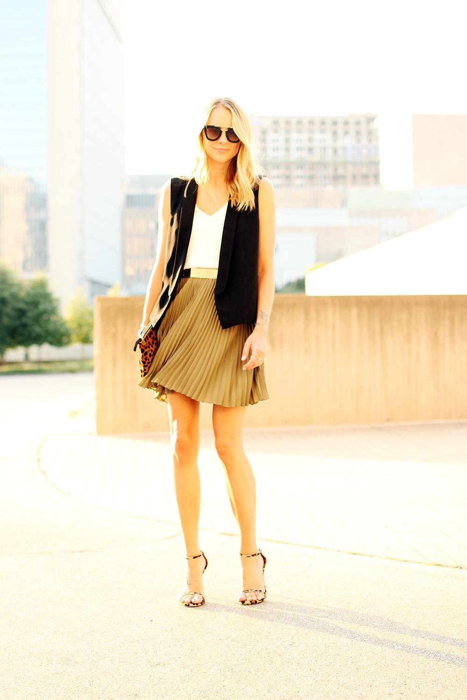 fashion-jackson-banana-republic-olive-soft-pleated-skirt-black-vest-stuart-weitzman-leopard-heels-prada-cateye-sunglasses