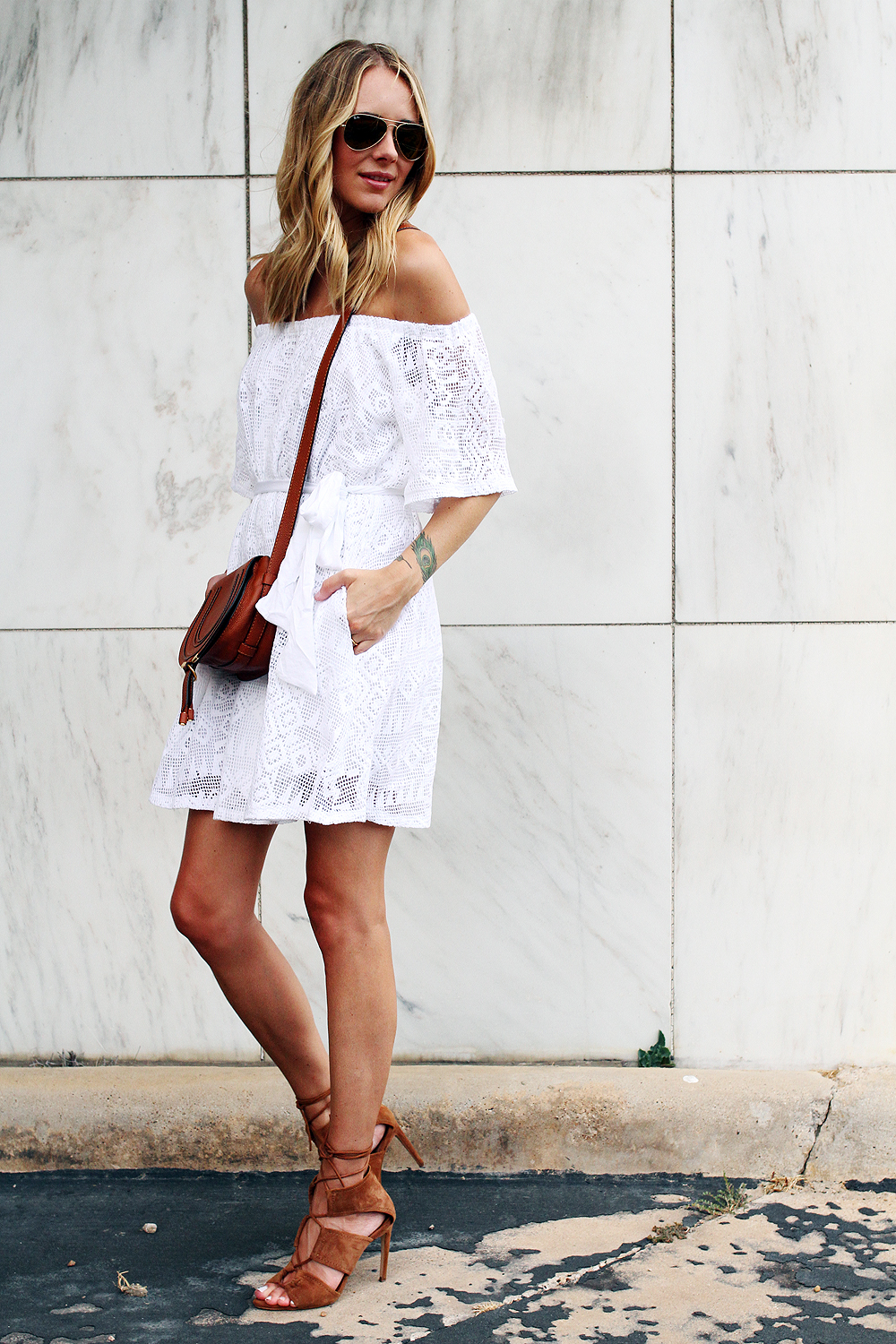 fashion-jackson-banana-republic-white-lace-off-the-shoulder-dress-chloe-tan-marcie-crossbody-zara-tan-lace-up-heels