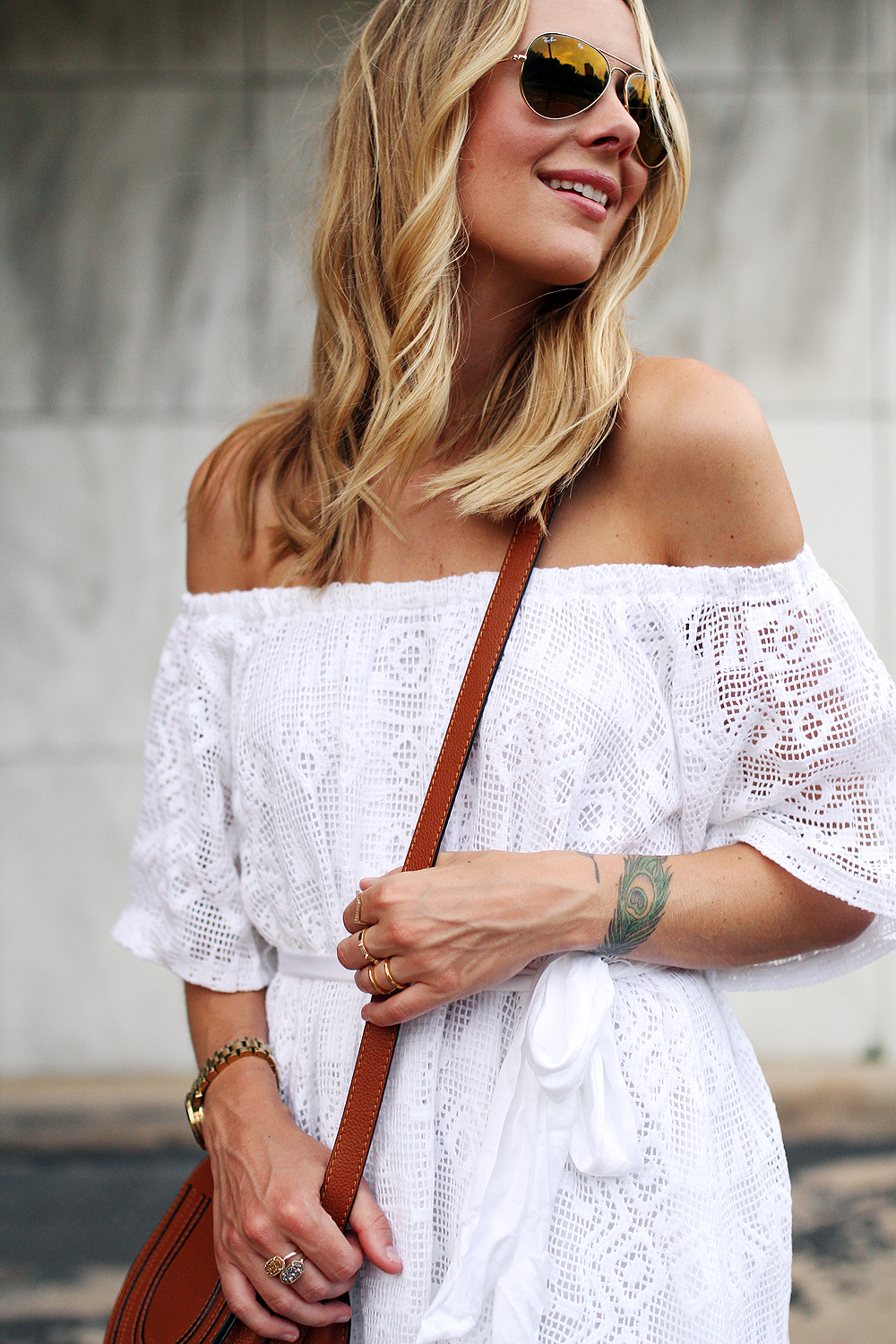 fashion-jackson-banana-republic-white-lace-off-the-shoulder-dress-ray-ban-gold-aviator-sunglasses-chloe-tan-marcie-crossbody