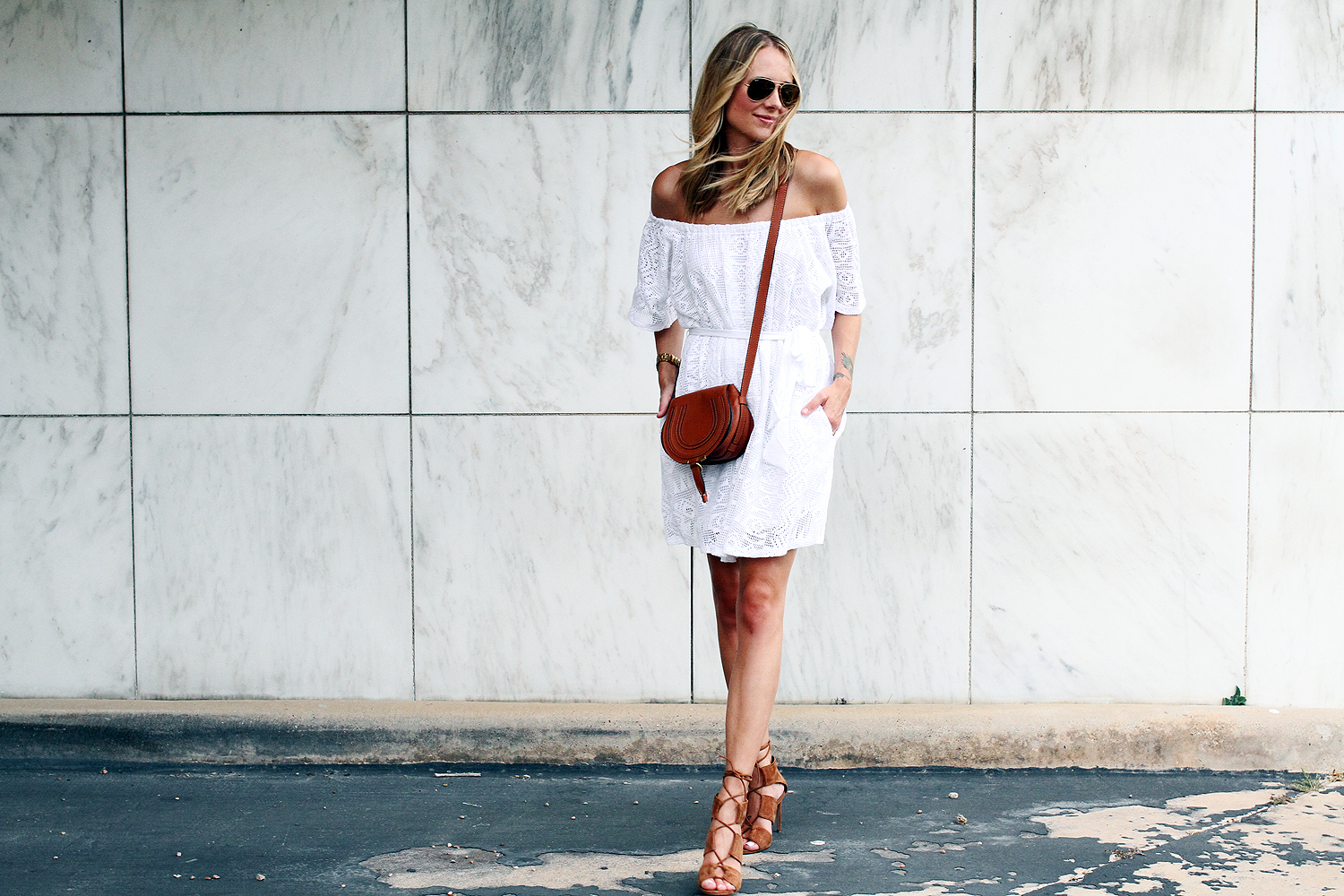 fashion-jackson-banana-republic-white-lace-off-the-shoulder-dress-zara-tan-lace-up-heels-chloe-tan-marcie-crossbody
