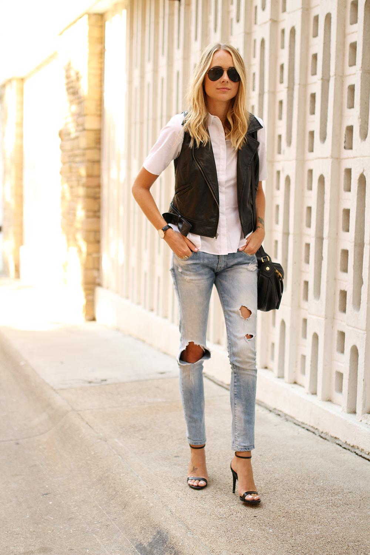 Faux Leather Moto Vest Fashion Jackson