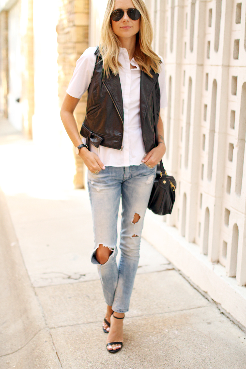 Faux leather moto vest fashion jackson for Skinny jeans with shirt