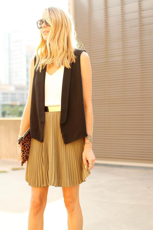 fashion-jackson-black-vest-banana-republic-olive-soft-pleated-skirt
