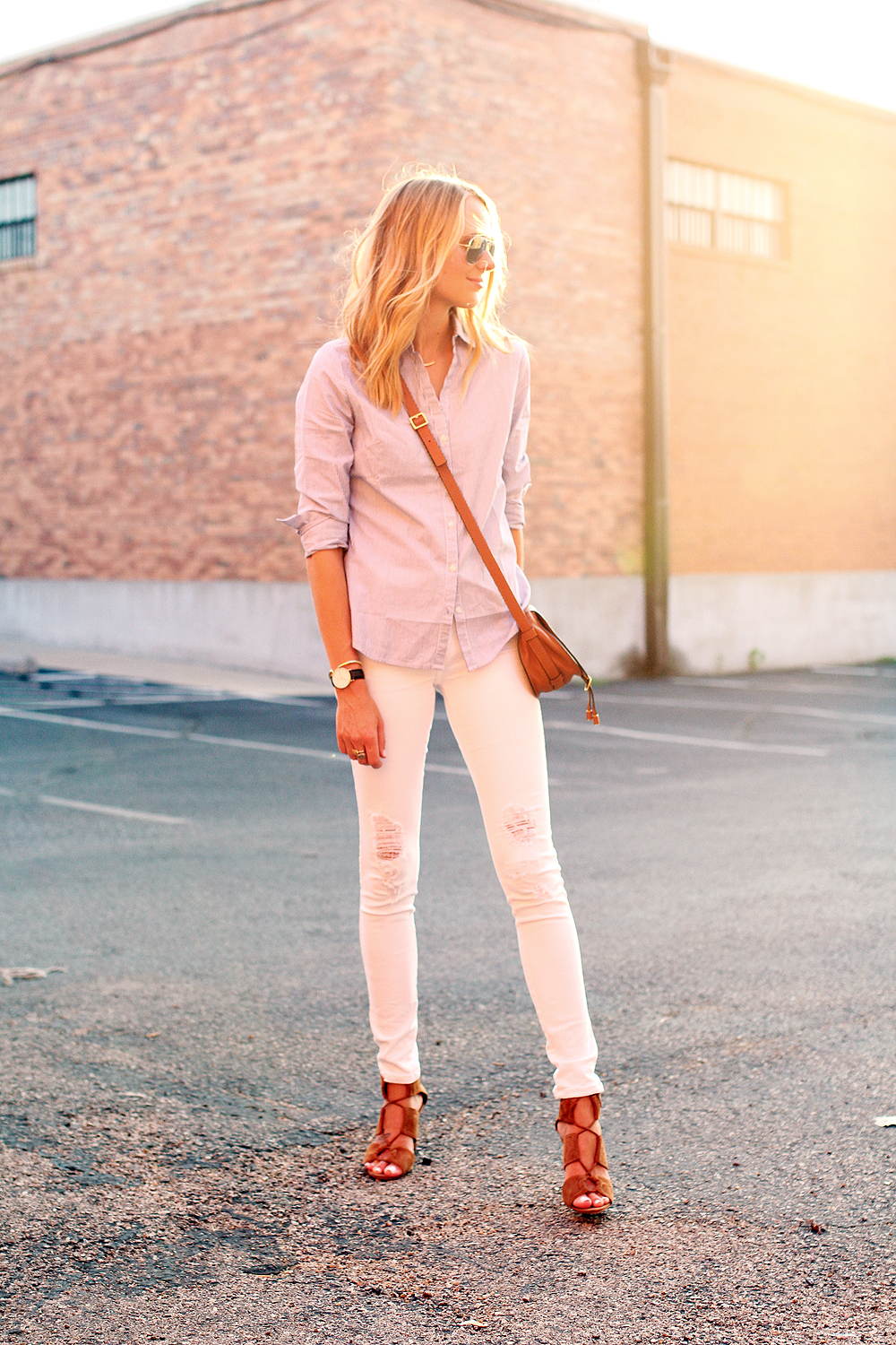 fashion-jackson-blue-white-stripe-shirt-james-jeans-twiggy-white-jeans-ray-ban-silver-mirrored-aviator-sunglasses-chloe-marcie-small-crossbody-tan-zara-tan-suede-lace-up-sandals