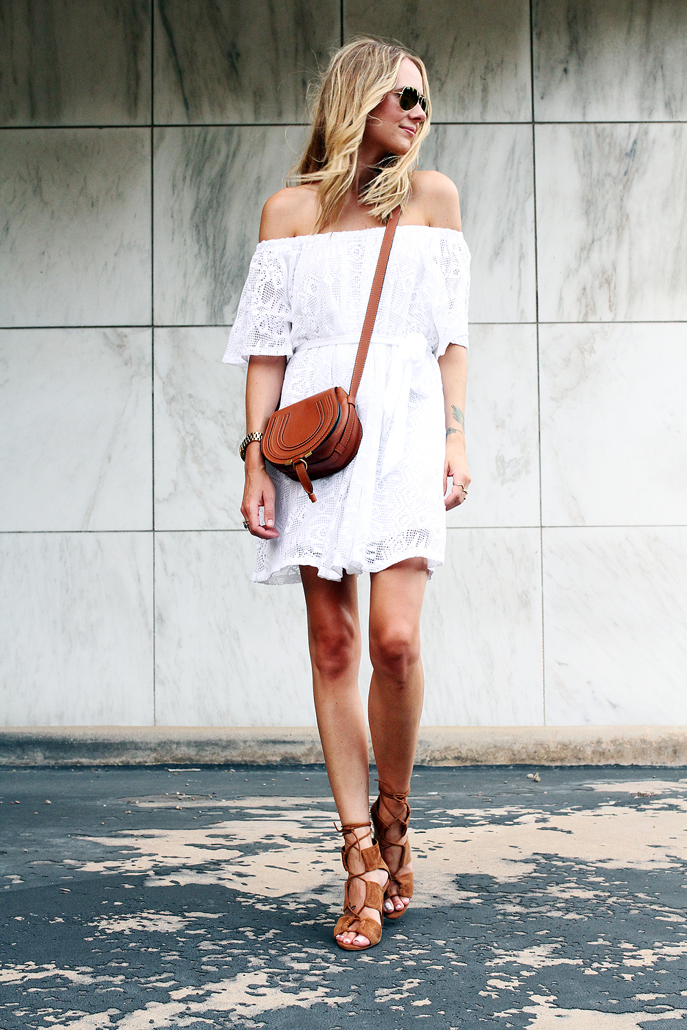 fashion-jackson-chloe-tan-marcie-crossbody-banana-republic-white-lace-off-the-shoulder-dress-zara-tan-lace-up-heels