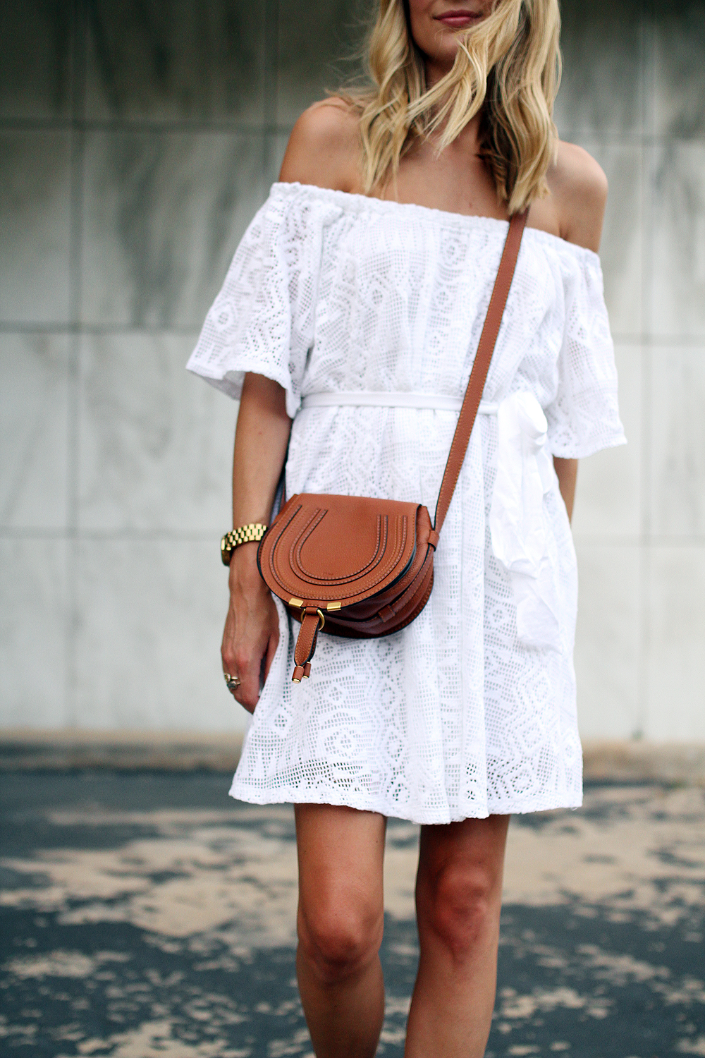 fashion-jackson-chloe-tan-marcie-crossbody-banana-republic-white-lace-off-the-shoulder-dress