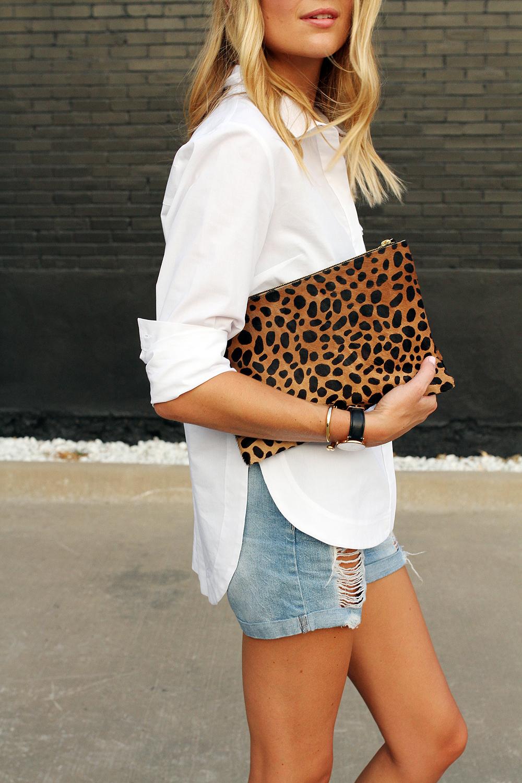 fashion-jackson-clare-v-leopard-clutch-denim-shorts-topshop-white-button-up-shirt