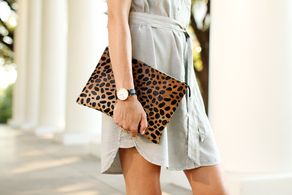 fashion-jackson-clare-v-leopard-clutch-sleeveless-tencel-shirt-dress