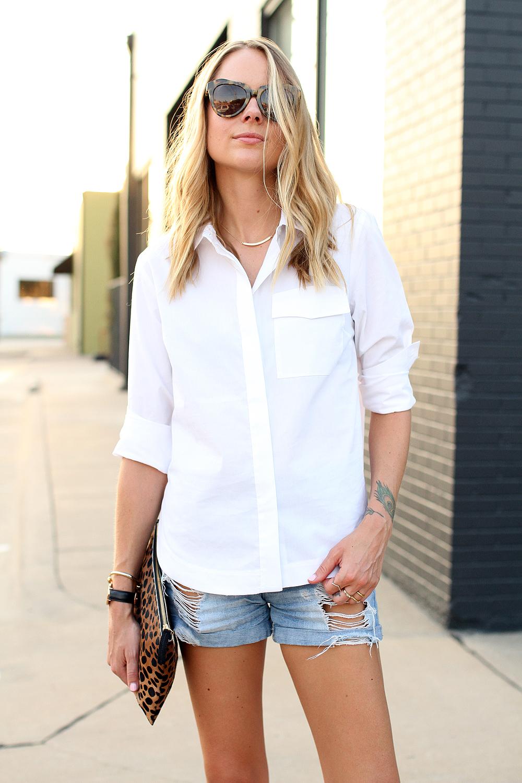 fashion-jackson-karen-walker-number-one-sunglasses-topshop-white-button-up-shirt-ripped-denim-shorts-clare-v-leopard-clutch